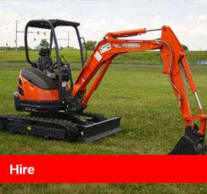 Hire page link - image of mini digger at work